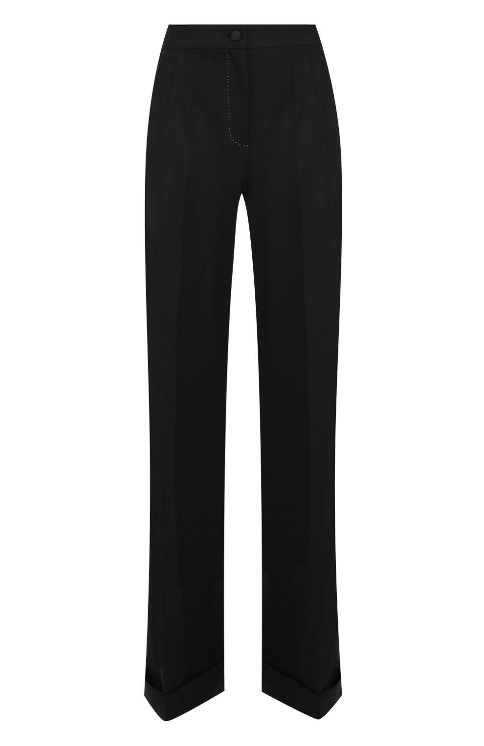 Шерстяные расклешенные брюки с контрастной прострочкой | Фото №1