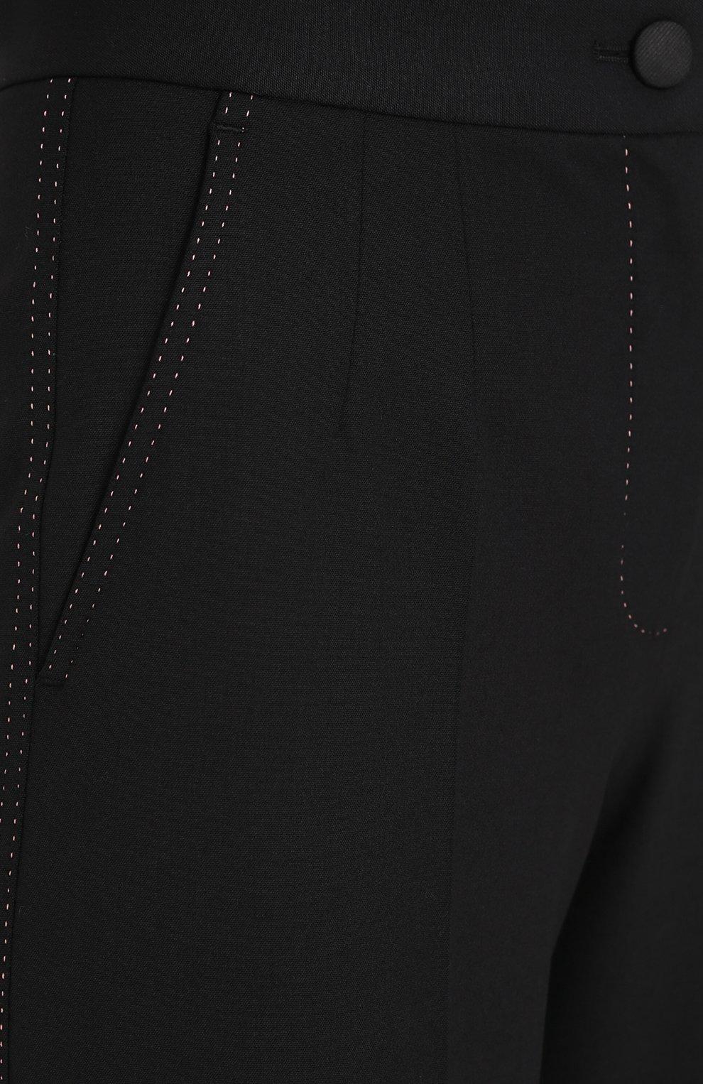 Шерстяные расклешенные брюки с контрастной прострочкой Dolce & Gabbana черные | Фото №5