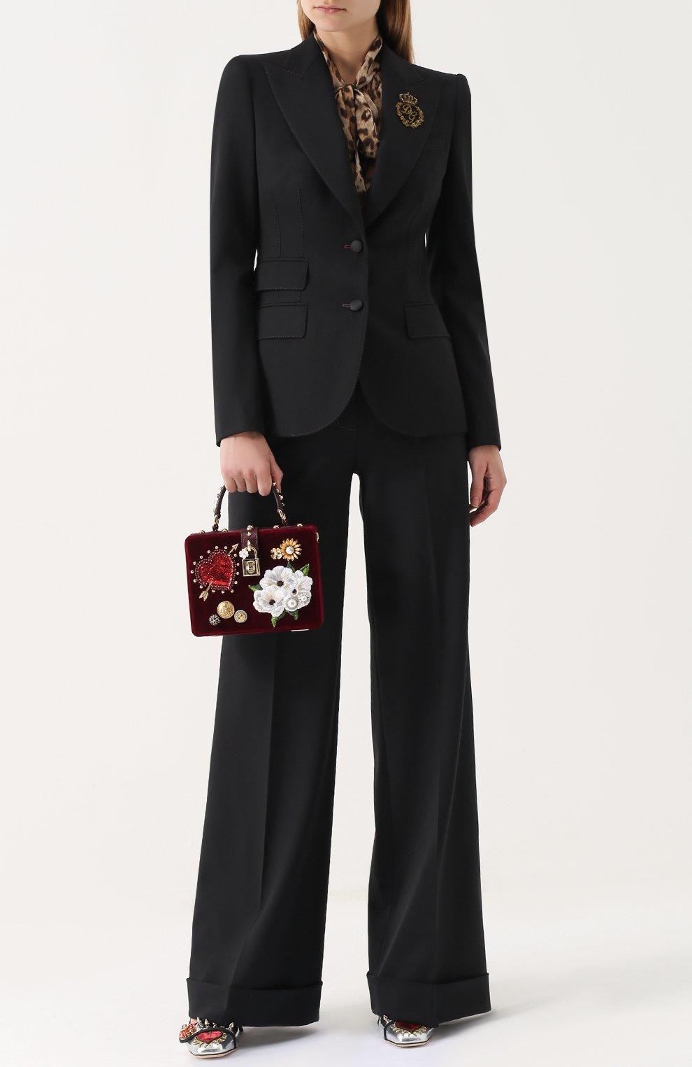 Однобортный шерстяной жакет с вышивкой Dolce & Gabbana черный   Фото №2