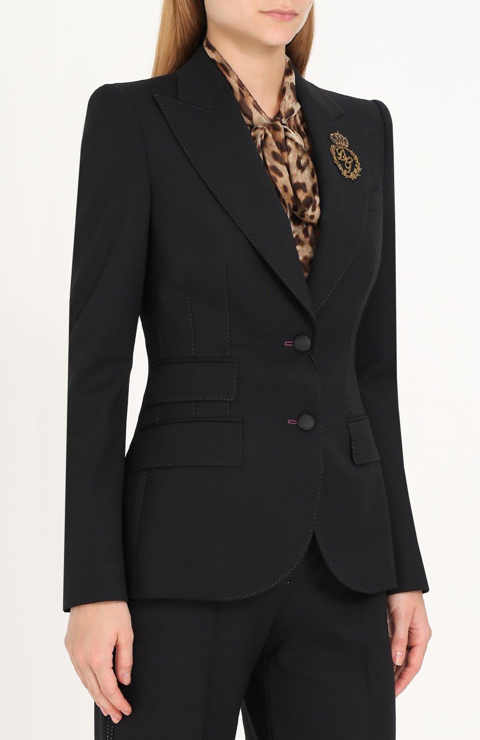 Однобортный шерстяной жакет с вышивкой Dolce & Gabbana черный   Фото №3