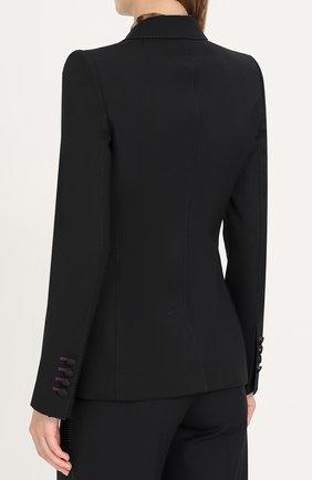 Однобортный шерстяной жакет с вышивкой Dolce & Gabbana черный   Фото №4