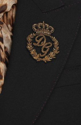 Однобортный шерстяной жакет с вышивкой Dolce & Gabbana черный   Фото №5