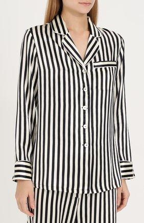Шелковая пижама в контрастную полоску Olivia Von Halle черно-белая | Фото №1
