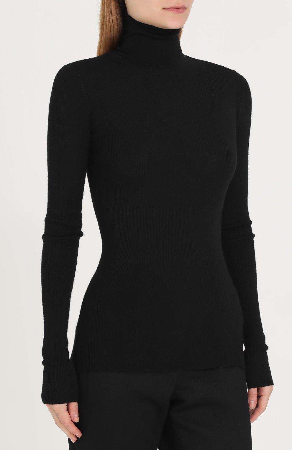 Вязаная водолазка из смеси кашемира и шелка Dolce & Gabbana черная | Фото №3