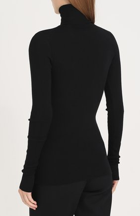Вязаная водолазка из смеси кашемира и шелка Dolce & Gabbana черная | Фото №4