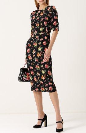 Замшевые туфли Vally на устойчивом каблуке Dolce & Gabbana черные   Фото №2