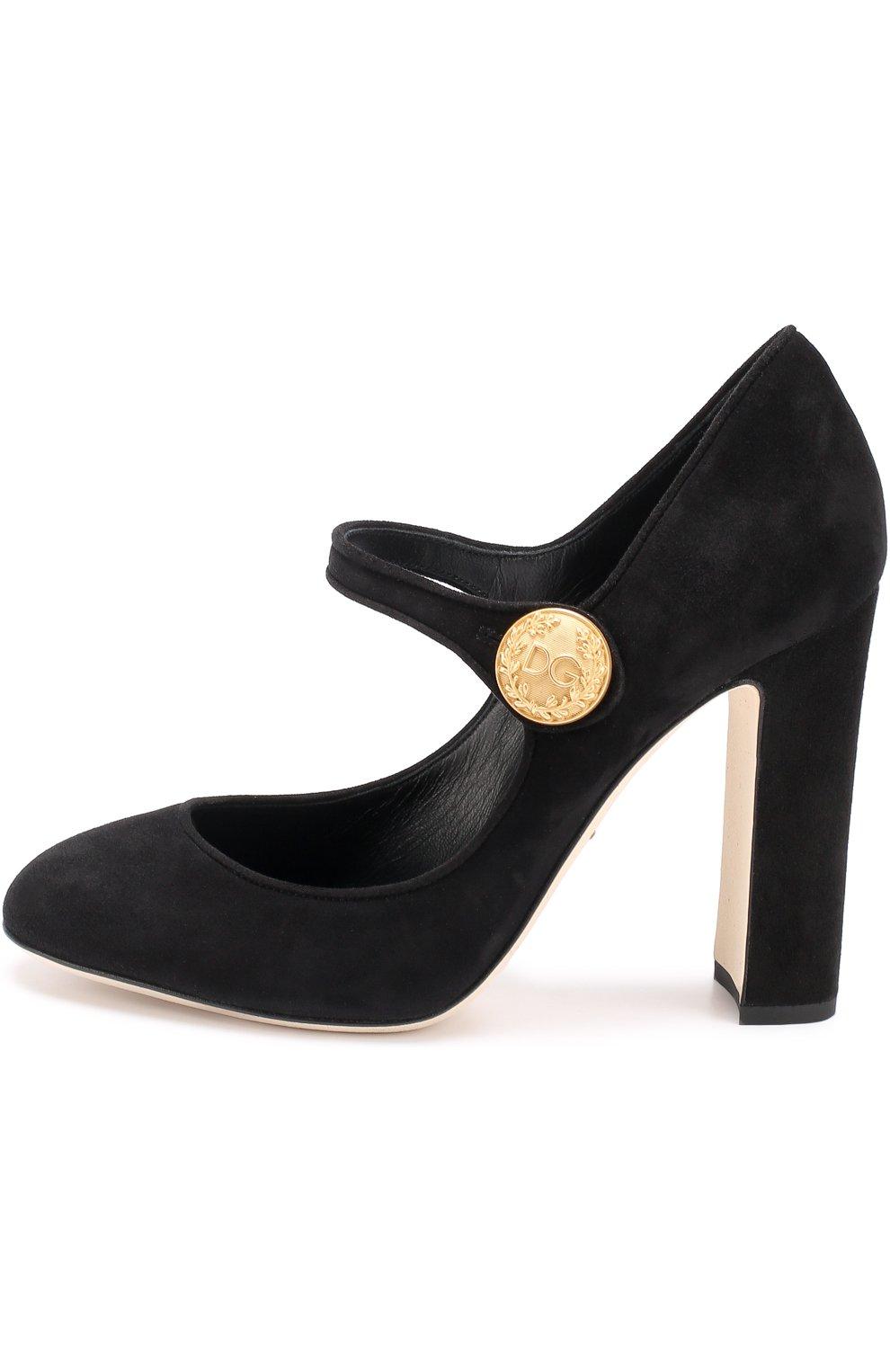 Замшевые туфли Vally на устойчивом каблуке Dolce & Gabbana черные   Фото №3