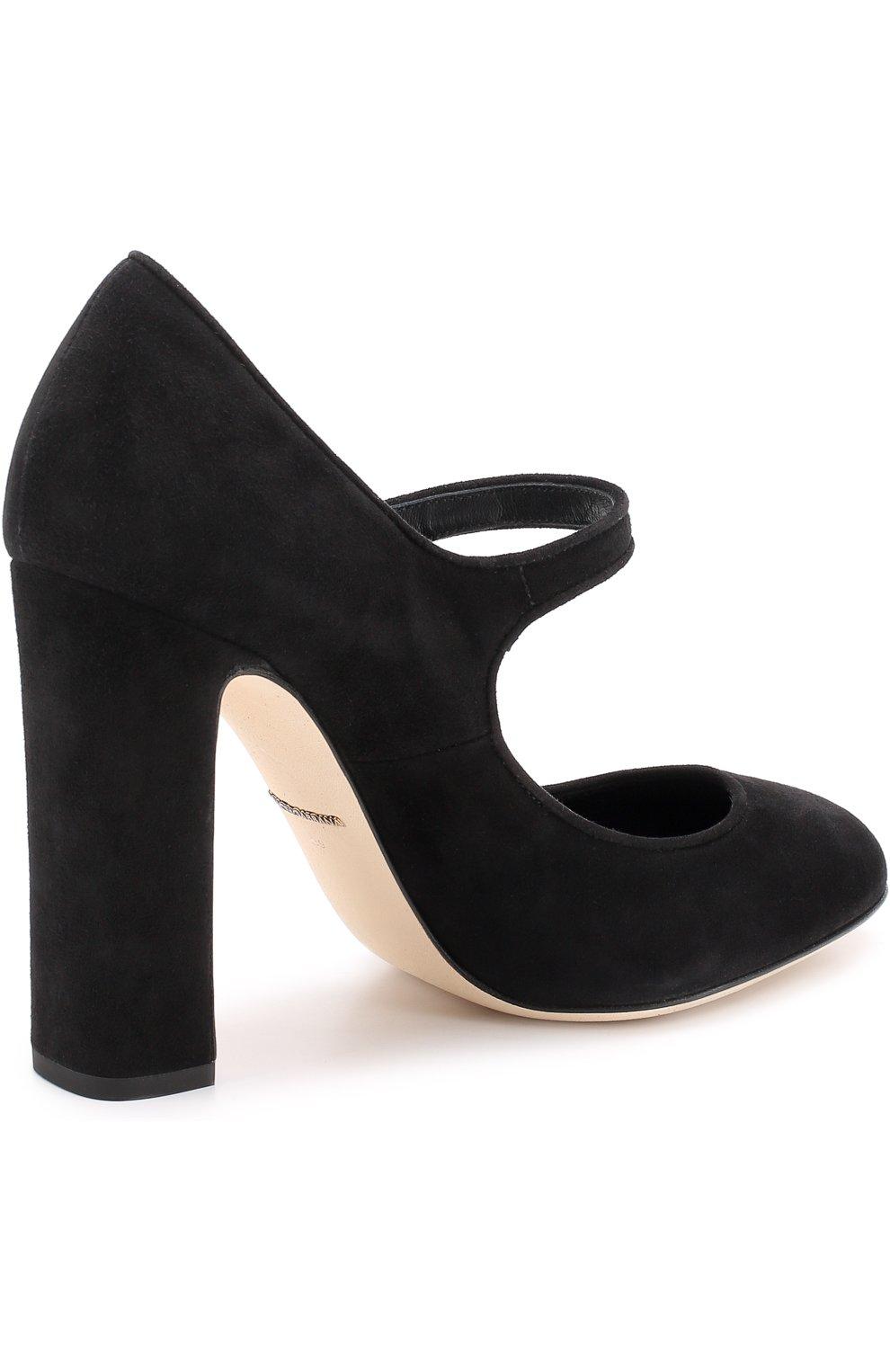 Замшевые туфли Vally на устойчивом каблуке Dolce & Gabbana черные   Фото №4