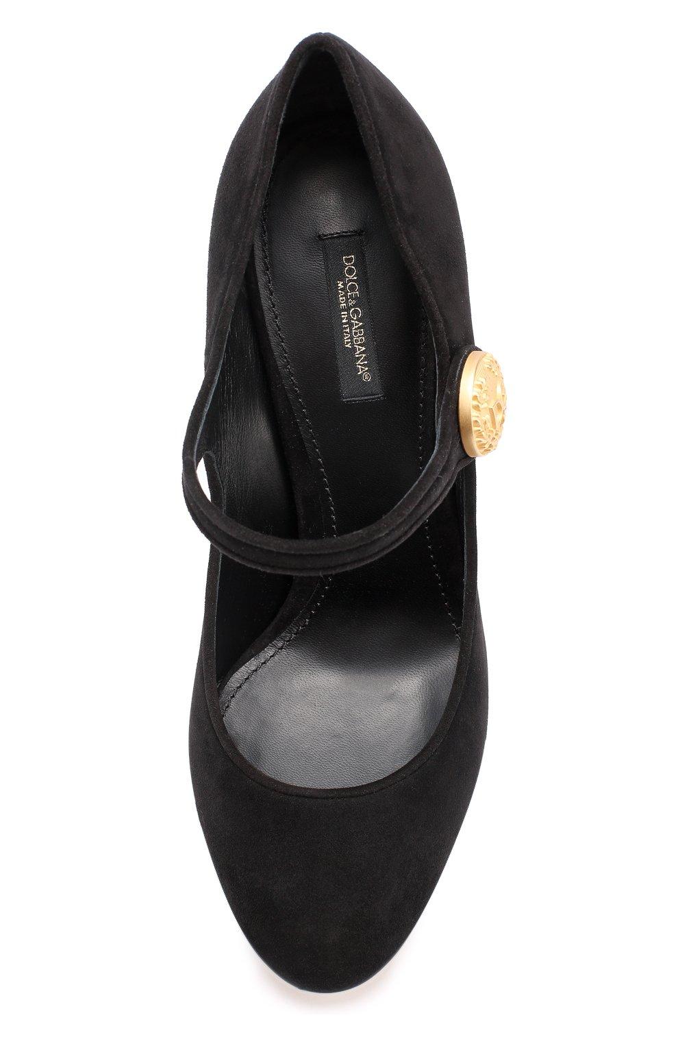Замшевые туфли Vally на устойчивом каблуке Dolce & Gabbana черные   Фото №5