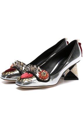 Туфли Jackie из металлизированной кожи с декором Dolce & Gabbana серебряные | Фото №1