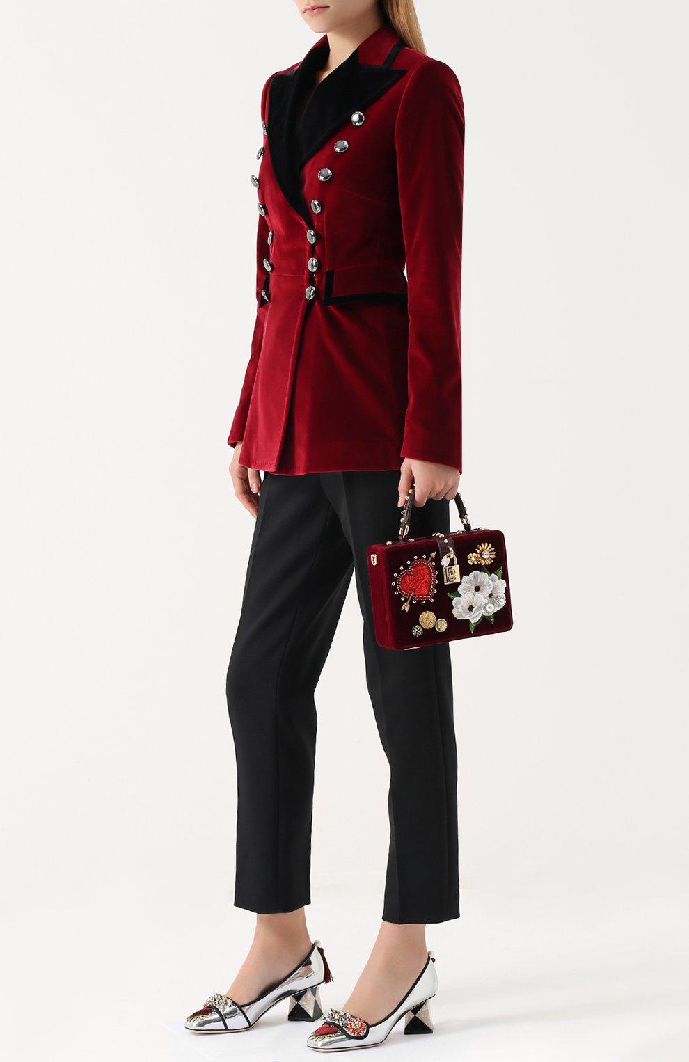 Туфли Jackie из металлизированной кожи с декором Dolce & Gabbana серебряные | Фото №2