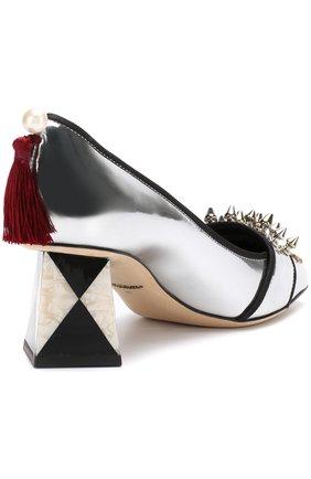 Туфли Jackie из металлизированной кожи с декором Dolce & Gabbana серебряные | Фото №4