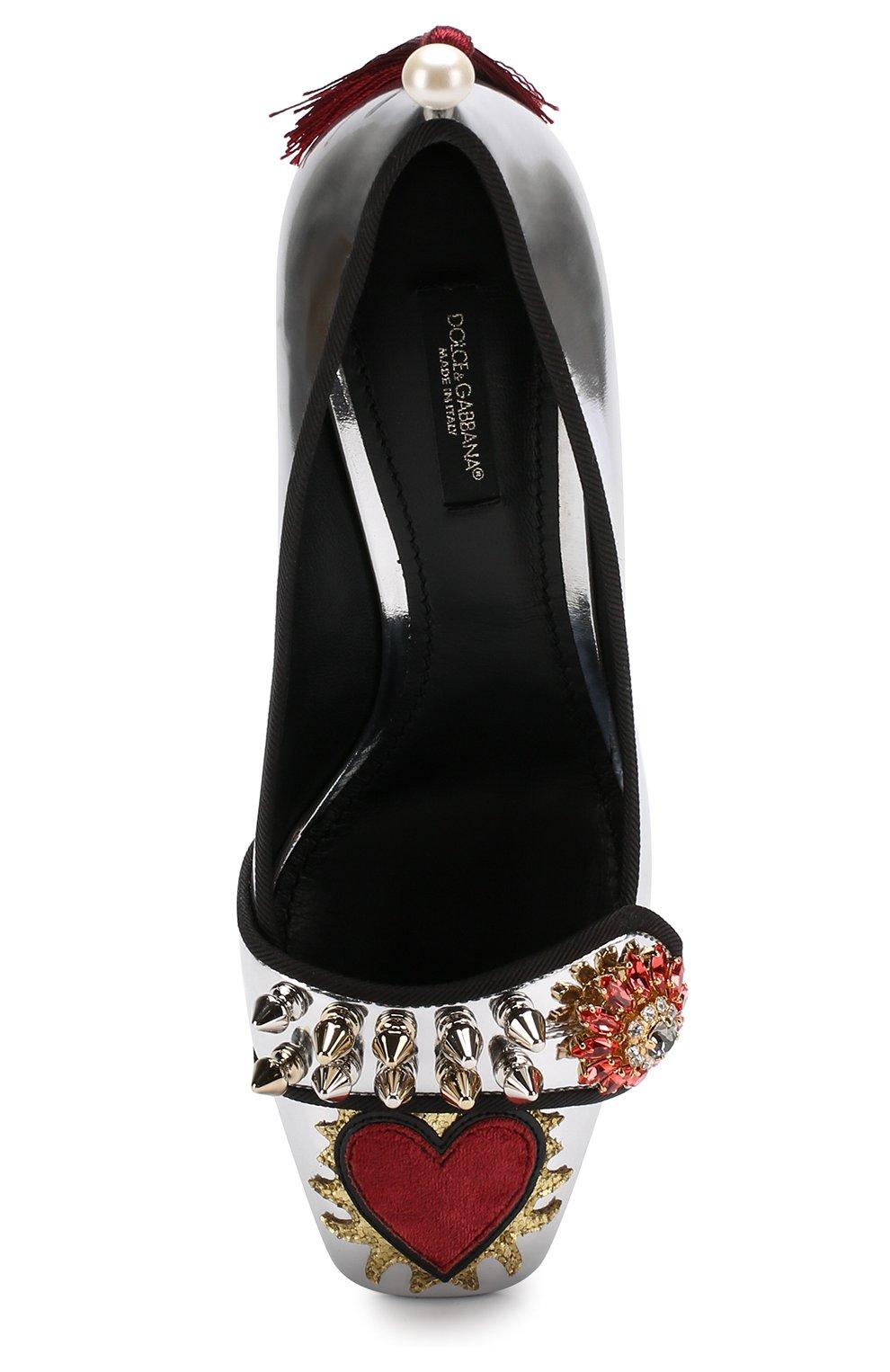 Туфли Jackie из металлизированной кожи с декором Dolce & Gabbana серебряные | Фото №5
