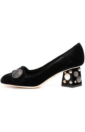 Бархатные туфли Jackie на декорированном каблуке Dolce & Gabbana черные | Фото №3