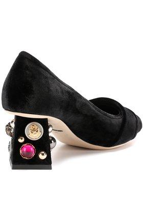 Бархатные туфли Jackie на декорированном каблуке Dolce & Gabbana черные | Фото №4