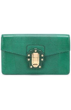 Сумка Lucia из тисненой кожи Dolce & Gabbana зеленая цвета | Фото №1
