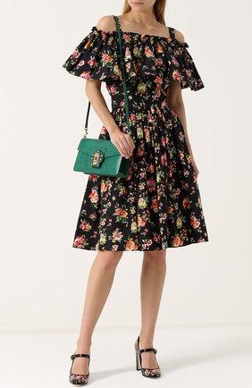Сумка Lucia из тисненой кожи Dolce & Gabbana зеленая цвета | Фото №2