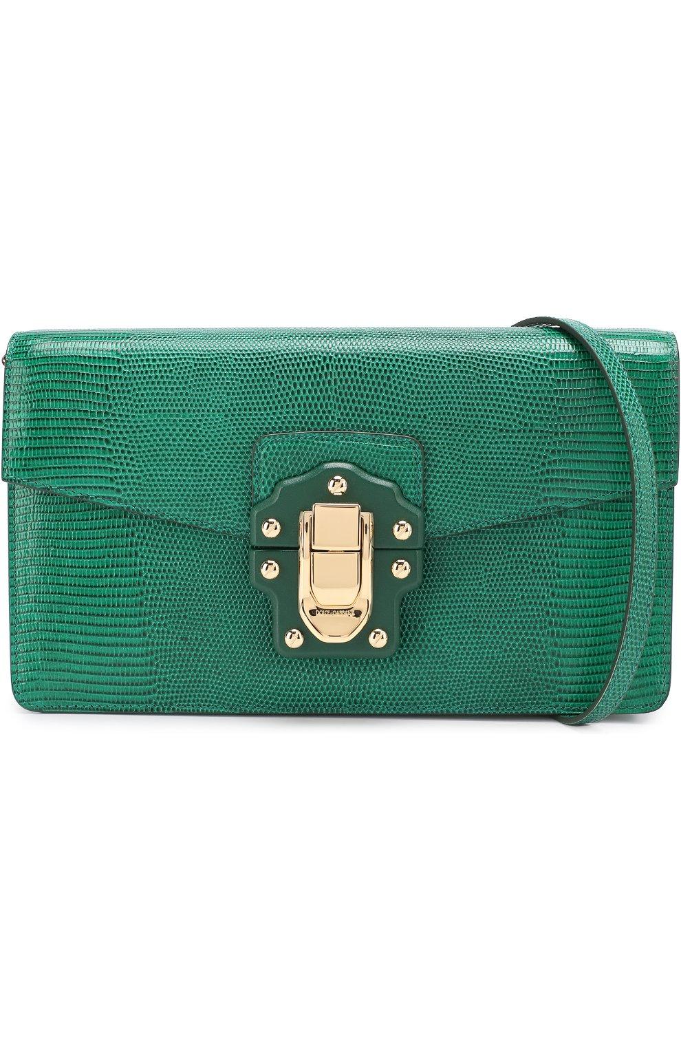 Сумка Lucia из тисненой кожи Dolce & Gabbana зеленая цвета | Фото №5