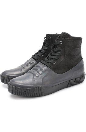 Высокие комбинированные кеды на шнуровке  Both черные | Фото №1