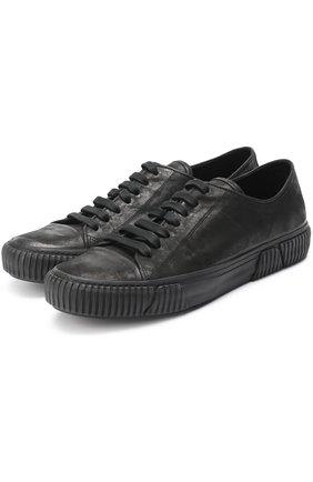 Кожаные кеды на шнуровке Both черные | Фото №1