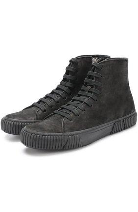 Высокие кожаные кеды на шнуровке Both черные | Фото №1