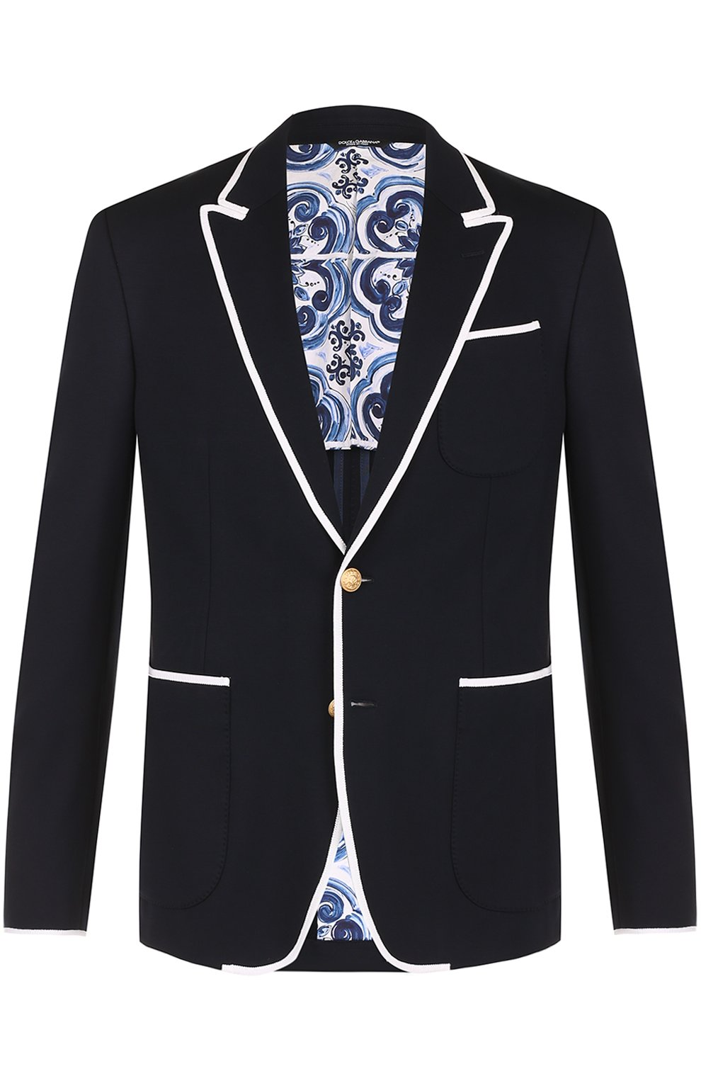 Однобортный пиджак из вискозы с контрастной отделкой | Фото №1