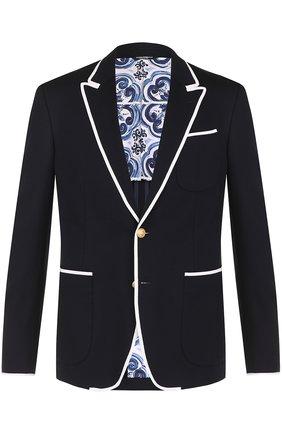 Однобортный пиджак из вискозы с контрастной отделкой Dolce & Gabbana темно-синий | Фото №1