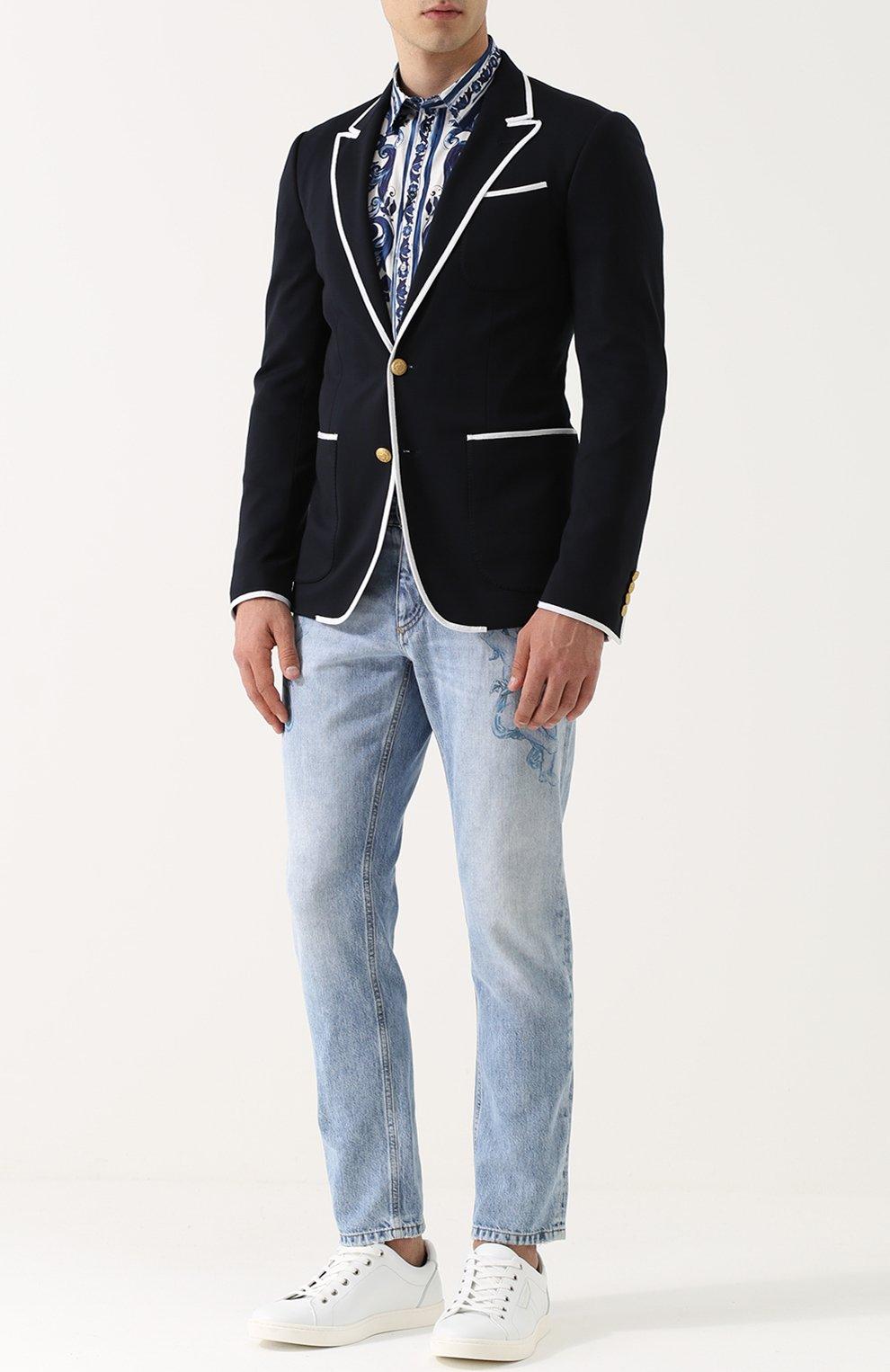 Однобортный пиджак из вискозы с контрастной отделкой Dolce & Gabbana темно-синий | Фото №2
