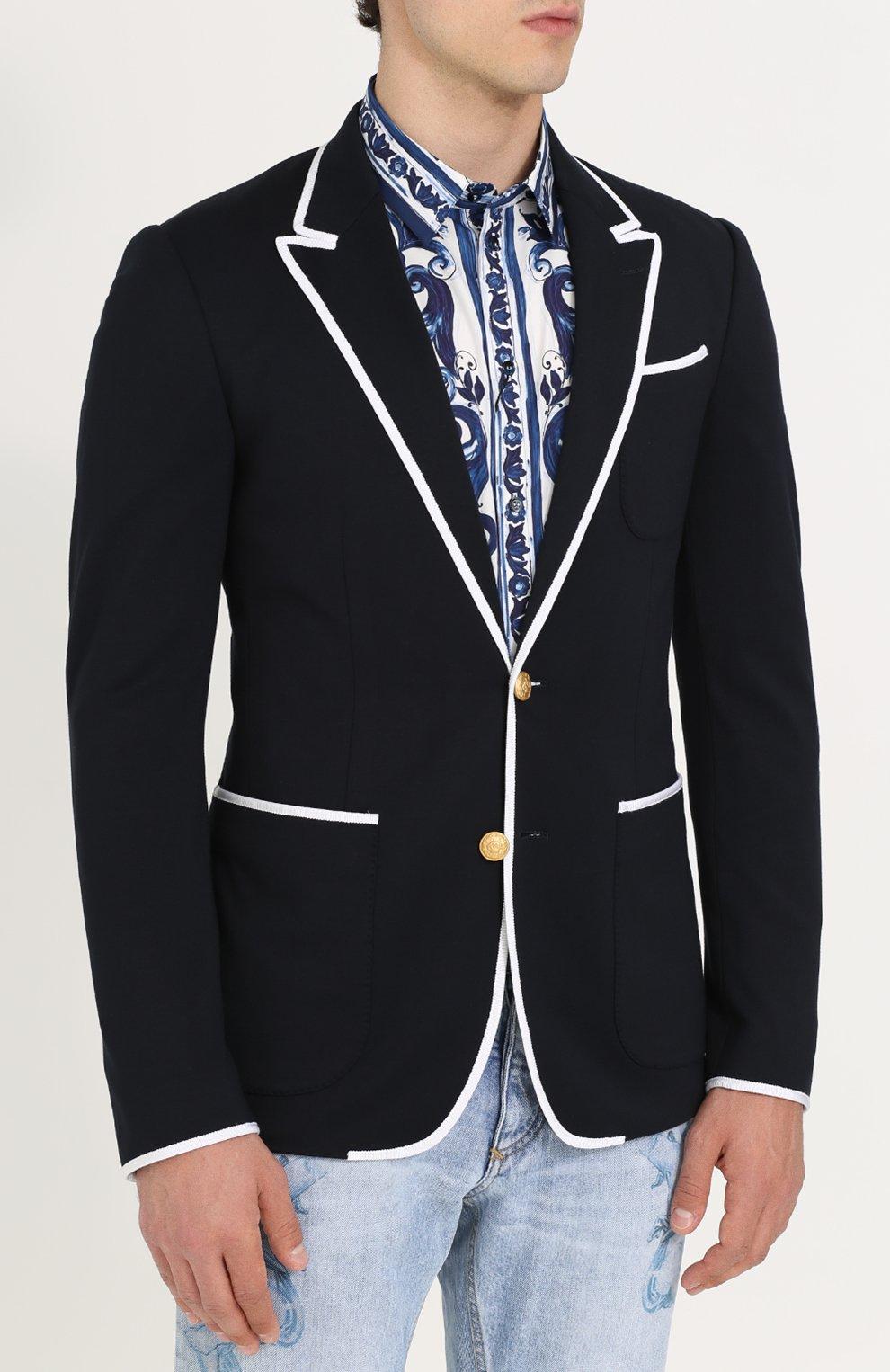 Однобортный пиджак из вискозы с контрастной отделкой Dolce & Gabbana темно-синий | Фото №3