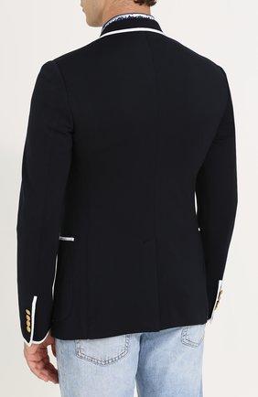 Однобортный пиджак из вискозы с контрастной отделкой Dolce & Gabbana темно-синий | Фото №4