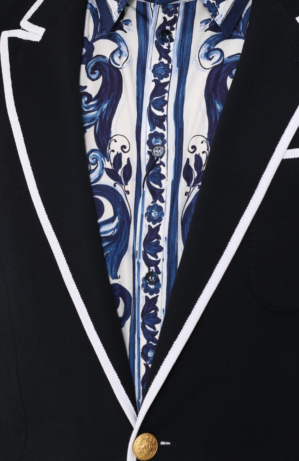 Однобортный пиджак из вискозы с контрастной отделкой Dolce & Gabbana темно-синий | Фото №5