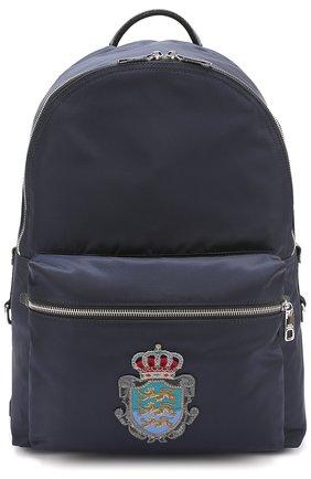 Текстильный рюкзак Vulcano с вышивкой Dolce & Gabbana темно-синий | Фото №1