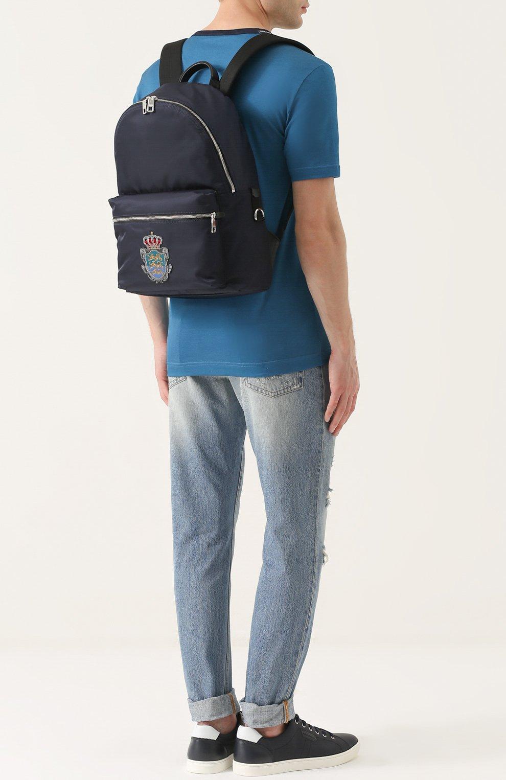 Текстильный рюкзак Vulcano с вышивкой Dolce & Gabbana темно-синий | Фото №2