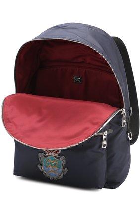 Текстильный рюкзак Vulcano с вышивкой Dolce & Gabbana темно-синий | Фото №4