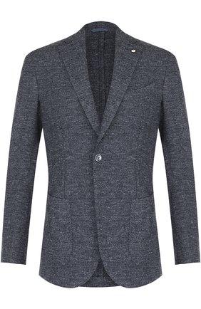 Однобортный пиджак из смеси шерсти и вискозы L.B.M. 1911 синий | Фото №1