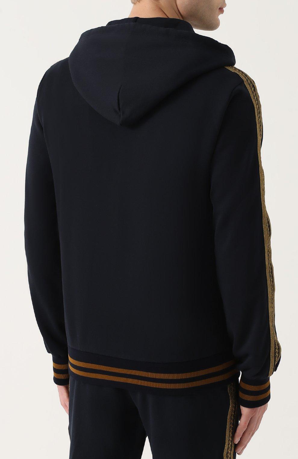 Хлопковый кардиган на молнии с контрастной отделкой Dolce & Gabbana темно-синий | Фото №4