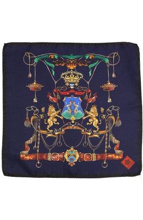 Шелковый платок с принтом Dolce & Gabbana темно-синий | Фото №2