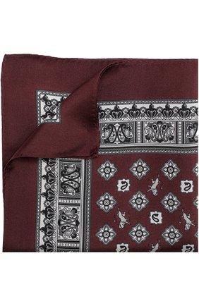 Шелковый платок с принтом Dolce & Gabbana бордовый | Фото №1