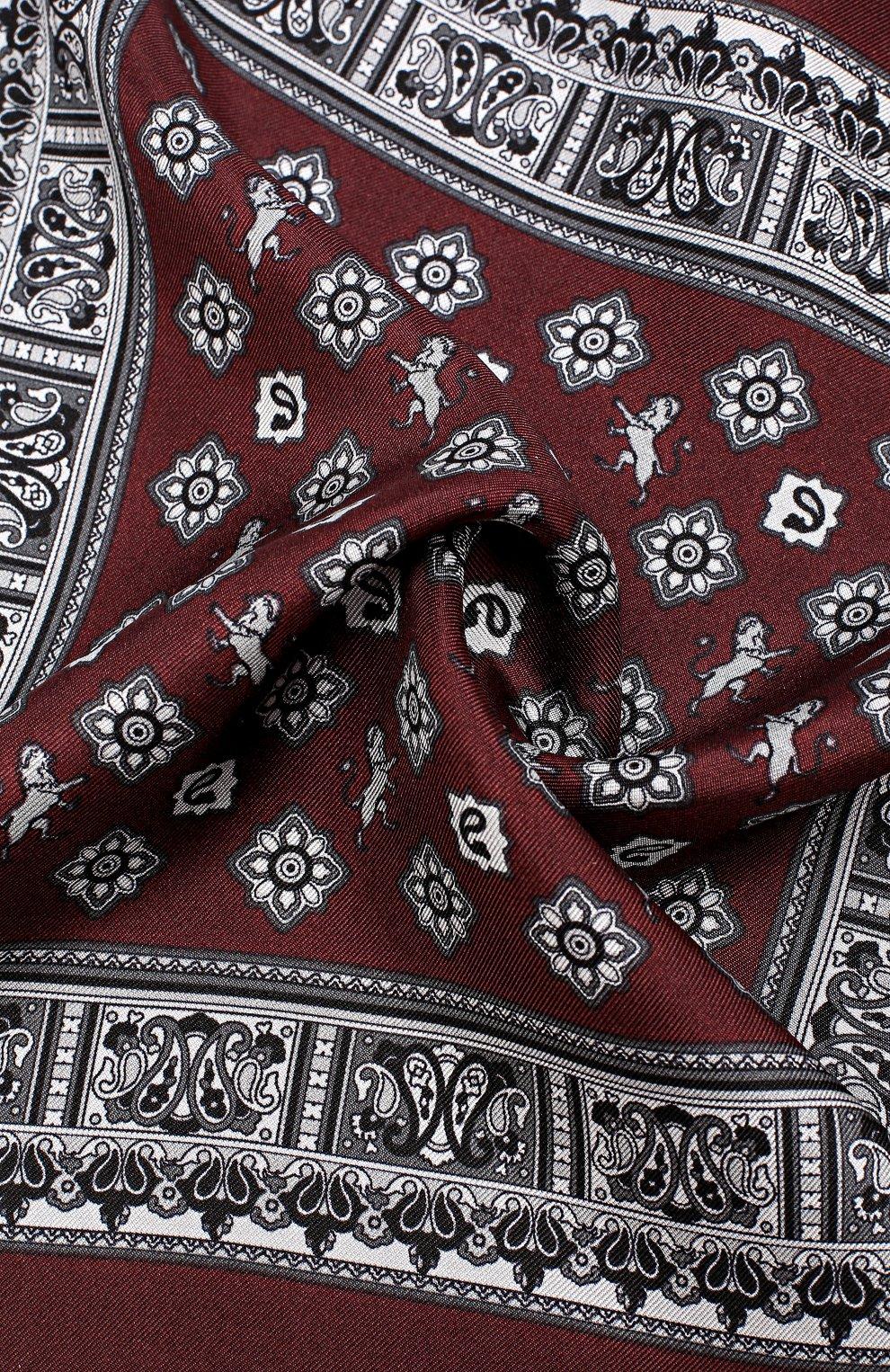 Шелковый платок с принтом Dolce & Gabbana бордовый | Фото №3