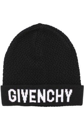 Вязаная шапка из шерсти с логотипом бренда | Фото №1