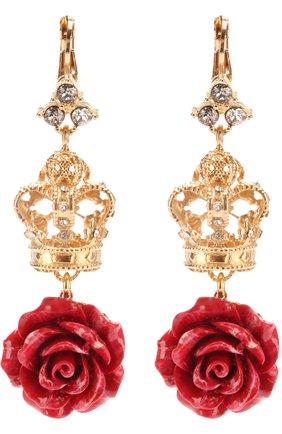 Серьги с декоративными элементами и кристаллами Swarovski Dolce & Gabbana золотые | Фото №1
