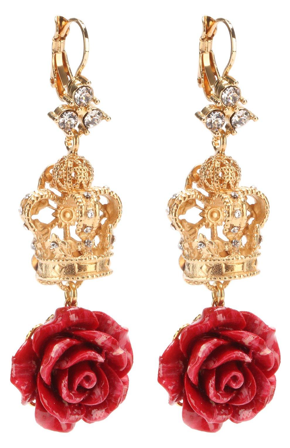 Серьги с декоративными элементами и кристаллами Swarovski Dolce & Gabbana золотые | Фото №2