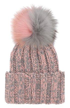 Кашемировая шапка фактурной вязки с меховым помпоном Inverni розового цвета   Фото №1