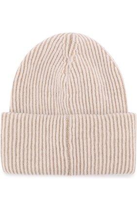 Вязаная шапка из смеси шерсти и кашемира Inverni бежевого цвета   Фото №1
