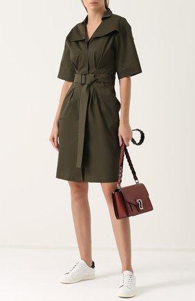 Приталенное платье-миди с поясом Walk of Shame зеленое | Фото №1