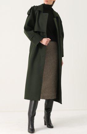 Шерстяное однобортное пальто с поясом Walk of Shame зеленого цвета | Фото №1