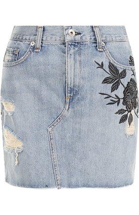 Джинсовая юбка с вырезом | Фото №1
