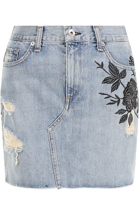 Джинсовая юбка с вырезом Rag&Bone голубая | Фото №1
