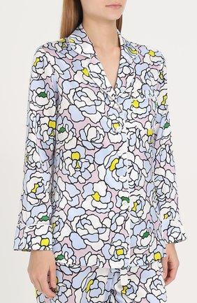 Шелковая пижама с принтом Olivia Von Halle разноцветная | Фото №1