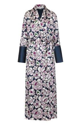 Шелковый халат с принтом и поясом | Фото №1